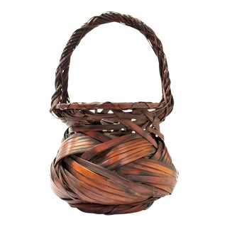 Large Bamboo Basket With Rope Style Handle For Sale