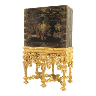 17th Century Chinese Coromandel Cabinet on a Charles II Gilt-Wood Stand For Sale