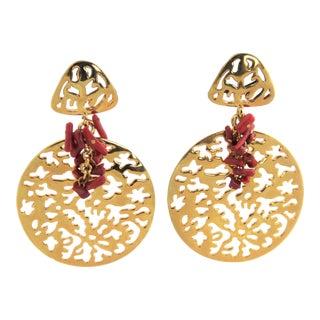 Joan Rivers Faux Red Coral & Pierced Gold Dangle Earrings For Sale