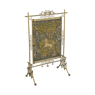 Charles Parker 1880s Antique Aesthetic Movement Brass Faux Bamboo Needlepoint Fire Screen