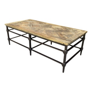 RH Recycled Herringbone Iron Wood Coffee Table For Sale