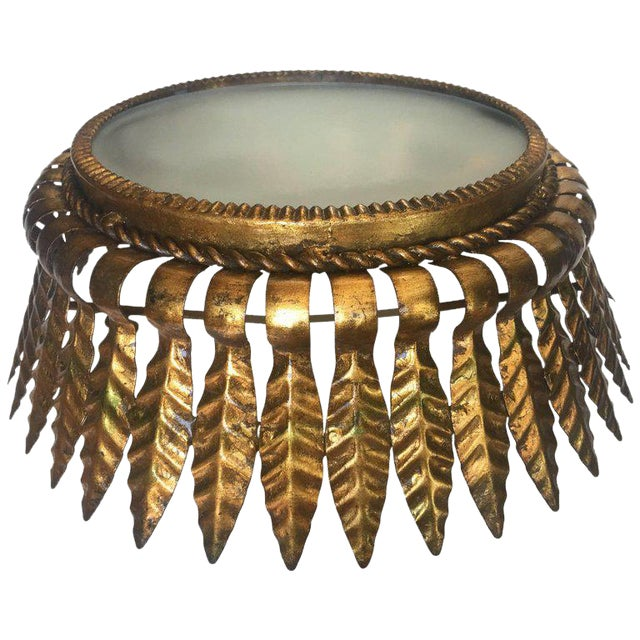 Gilt Metal Sunburst Crown Ceiling Fixture with Frosted Glass For Sale
