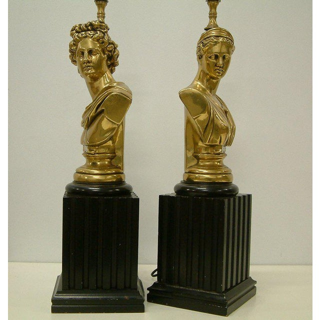 Metal Brass Classical Bust Lamps - A Pair For Sale - Image 7 of 8