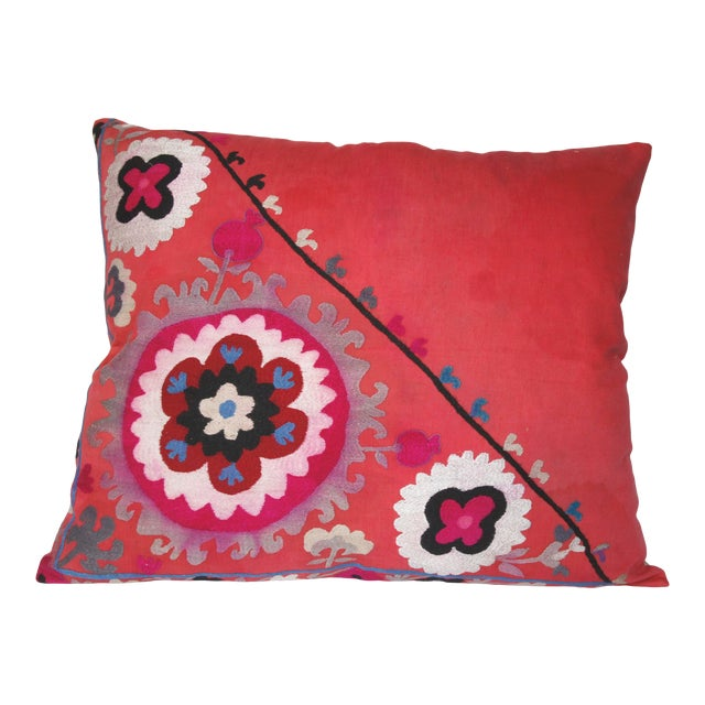 Vintage Needlework Suzani Pillow Cover For Sale