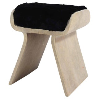 Dandy Stool in Cream Shagreen With Fur Cushion by Kifu Paris For Sale