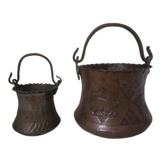 Antique Moroccan Hammam Buckets - a Pair For Sale