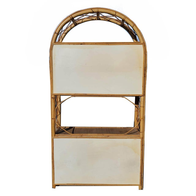Vintage Bamboo Display Cabinet For Sale - Image 6 of 10