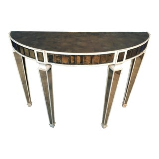 Amy Howard Mirrored Demi-Lune Console Table For Sale