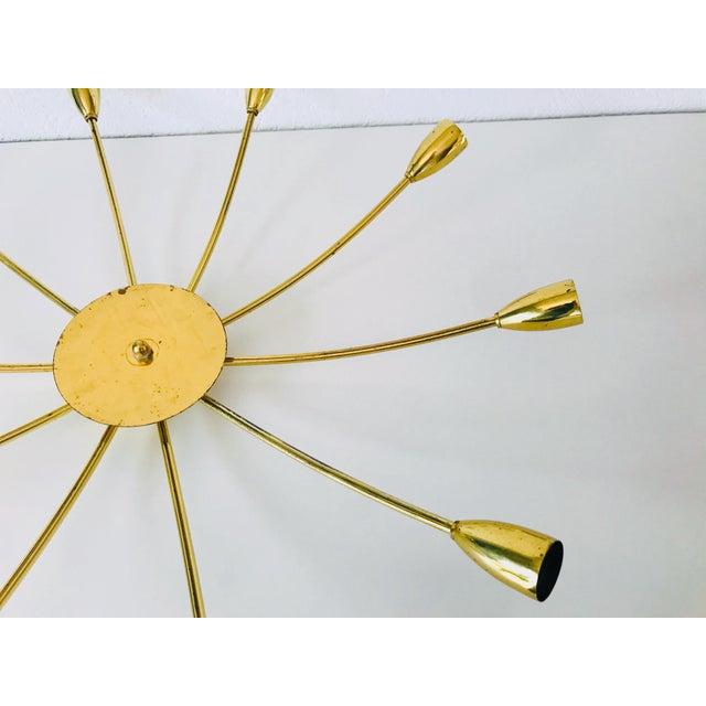 Brass 1960s Mid-Century Modern Brass Sputnik 8-Arm Chandelier, Germany For Sale - Image 8 of 11