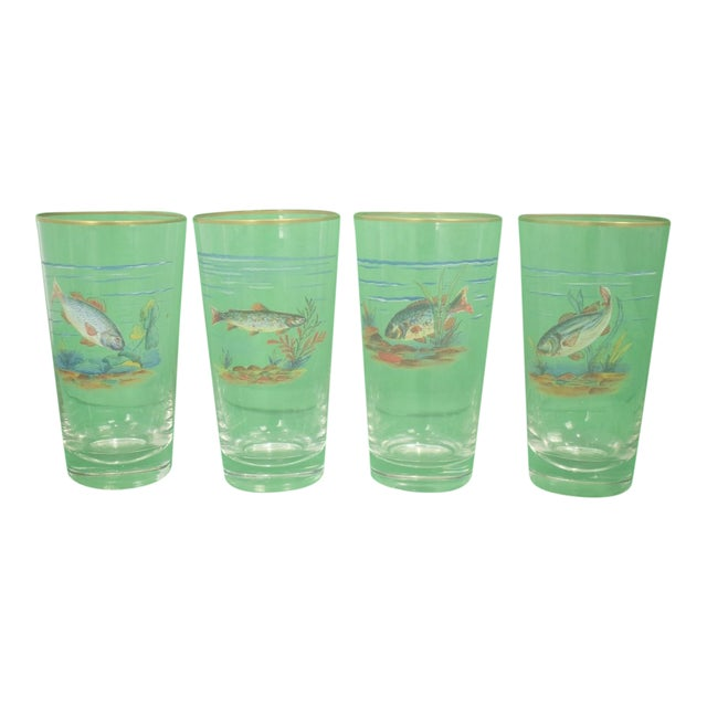 Vintage Mid-Century Hand-Painted 'Fish' High-Ball Glasses - Set of 4 For Sale