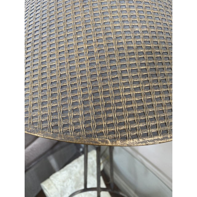 Tan 1970s Woven Shade Iron Lamps - a Pair For Sale - Image 8 of 9