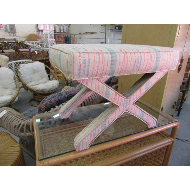 Pastel Upholstered X Bench For Sale - Image 4 of 5