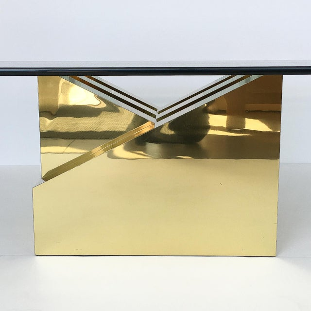 1970s Modern Sculptural Brass Clad Coffee Table For Sale - Image 5 of 13