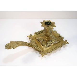 Antique European Brass Fleur De Lis Lion Dolphin Chamberstick Candle Holder Preview