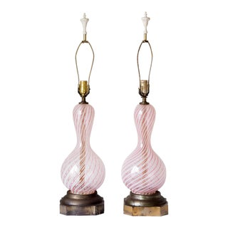 1950s Vintage talian Murano Latticino Pink Ribbon Lamps - A Pair For Sale