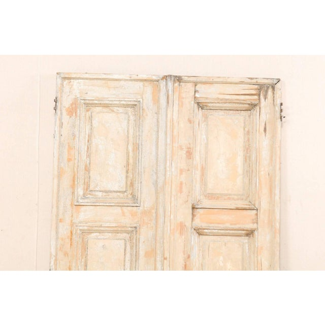 Mid 19th Century Pair of 19th Century Painted Wood French Doors With Nice Recessed Panels For Sale - Image 5 of 10