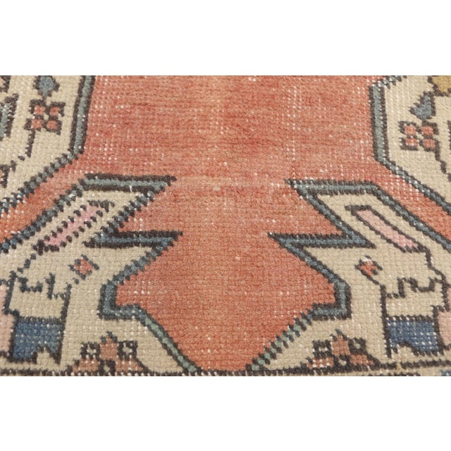 Distressed Vintage Turkish Oushak Rug With Art Deco Style - 4'05 x 7'07 For Sale - Image 4 of 9