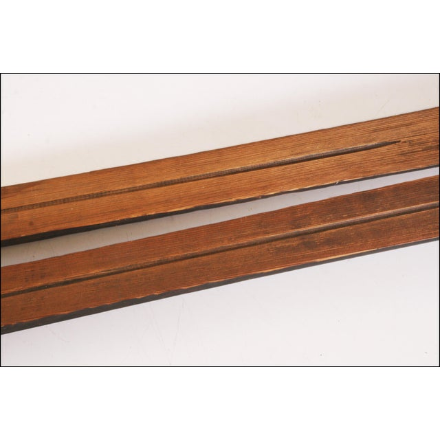 Vintage Rustic Wood Snow Skis - A Pair For Sale - Image 11 of 11