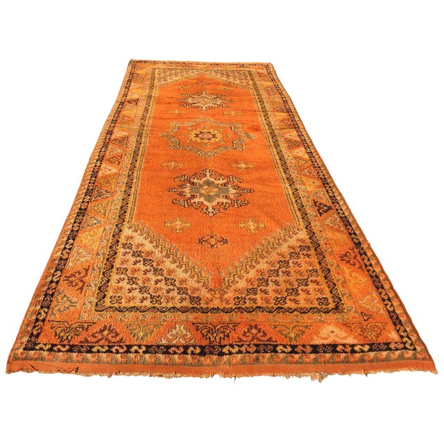 Vintage Mid Century Moroccan Orange Tribal African Pile Rug- 6′7″ × 16′5″ For Sale