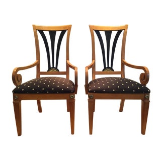 20th Century Biedermeier-Style Solid Maple W/ Ebonized Maple Chairs - a Pair For Sale