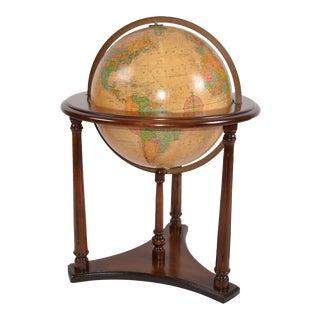 1950s Replogle Mid-Century Modern Illuminated Glass Globe on Walnut Stand For Sale