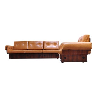 Brazilian Modern Rosewood and Leather Modular Sofa or Settees - 4 Pc. Set For Sale