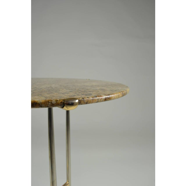 Stone Cedric Hartman Side Table, Steel and Brass Base For Sale - Image 7 of 10