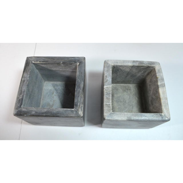 Contemporary Small Square Slate Gray Marble Boxes - A Pair For Sale In Austin - Image 6 of 7