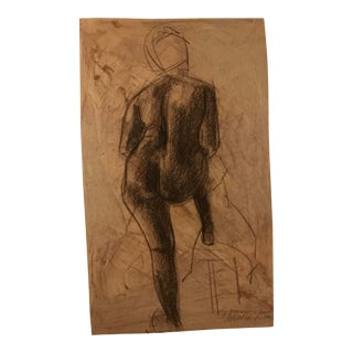 Nude Portrait of an African American Woman Drawing by Hilliard Dean For Sale