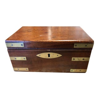 Mahogany Campaign Box With Marbled Interior and Key Circa 1880 For Sale
