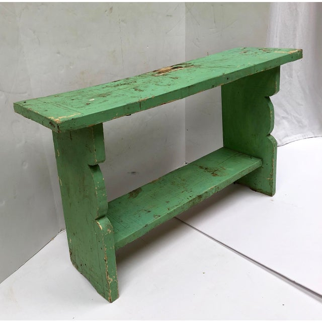 Paint 1800s French Country Farmhouse Painted Bucket Bench For Sale - Image 7 of 12