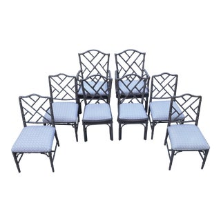 1970s Chippendale Faux Bamboo Dining Chairs - Set of 8