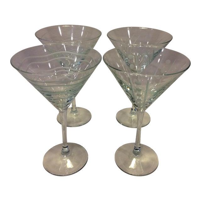 Vintage Etched Crystal Martini Glasses - Set of 4 - Image 1 of 11