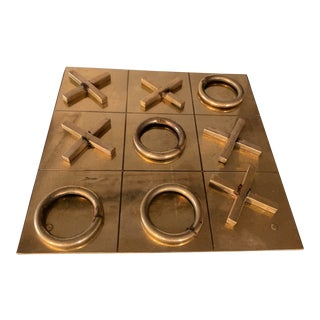 1970s Vintage Brass Tic Tac Toe Game For Sale