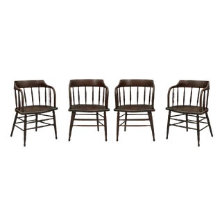 Set of 4 Dark Stained Low-back Windsor Chairs Circa 1935