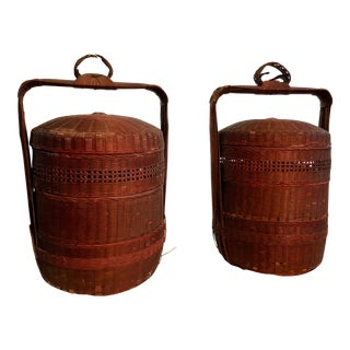 "Early 19th Century Antique Chinese ""Wedding Baskets"" - A Pair For Sale"