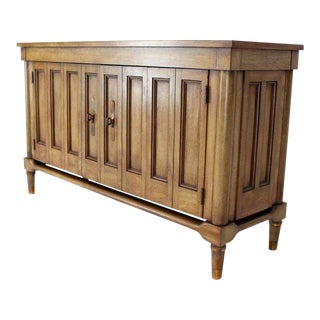 Mid-Century Modern Petit Fruitwood Credenza With Double Accordion Doors For Sale