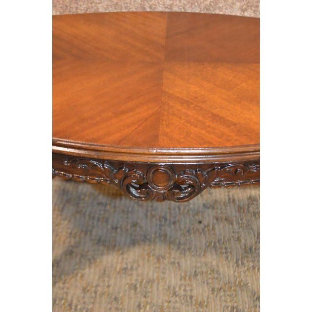 Mahogany Vintage French Style Carved & Inlaid Petite Cocktail Table For Sale - Image 7 of 11