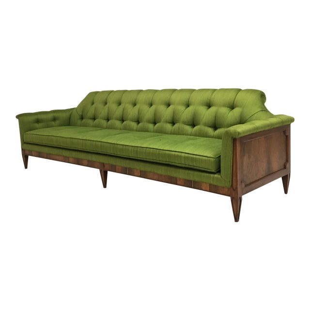 Mid-Century Hollywood Regency Style Tufted Sofa For Sale