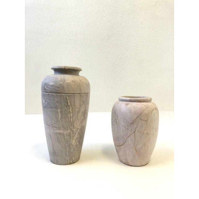Excellent Pair Of Italian Marble Vases Decaso