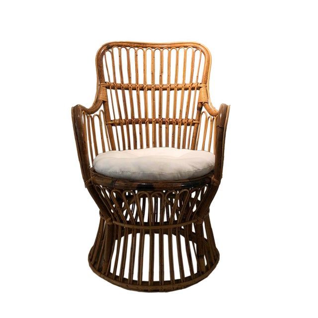 Wood Vintage Coastal Rattan Chair With New Upholstered Cushion For Sale - Image 7 of 7
