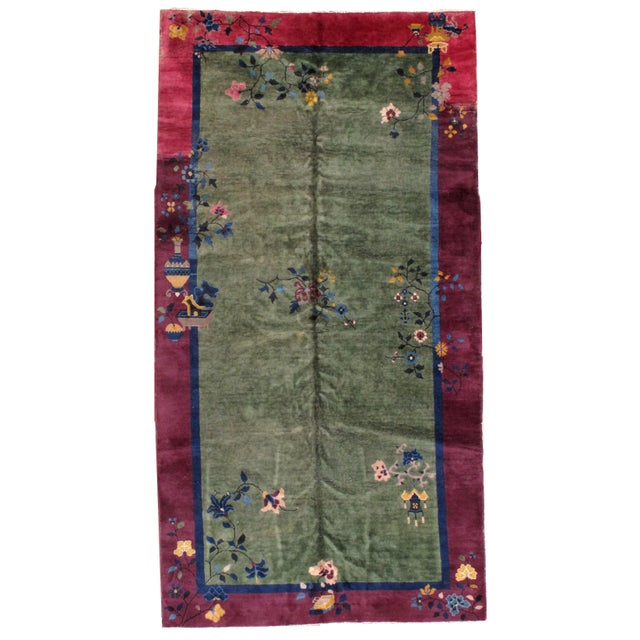 1920s Antique Art Deco Chinese Rug - 6′2″ × 11′8″ For Sale
