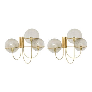 Mid-Century Modern Vico Magistretti Style Brass and Smoke Glass Sconces - a Pair For Sale