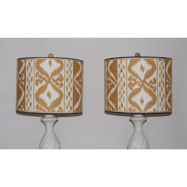 Column Lamps with Ikat Shades- A Pair - Image 3 of 6