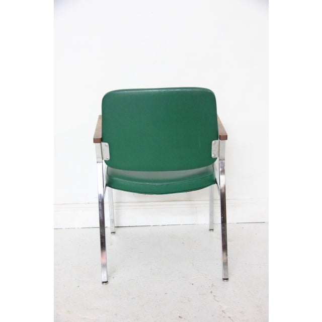 Vintage Mid-Century Industrial Green Vinyl Arm Chair - Image 5 of 6