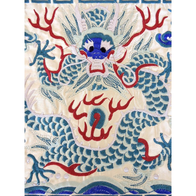 Embroidered Chinese Oriental Mat With Blue Dragon - Image 3 of 4