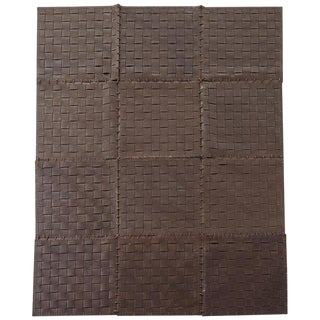 Woven Leather Strap Rug or Carpet For Sale