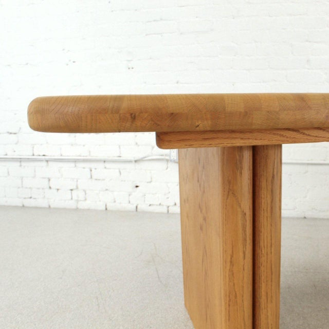 Wood Solid Oak Boho Restored Dining Table For Sale - Image 7 of 8