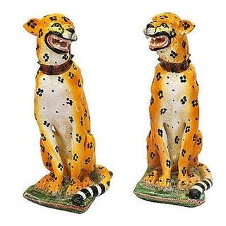 Mid-Century Italian Ceramic Cheetah Statues - Pair For Sale