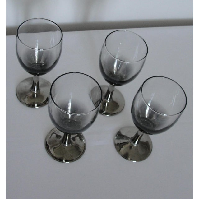 French Vintage Petite Wine Glasses Marked France Silver Gray Stems - 4 For Sale - Image 3 of 11